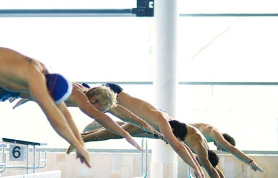 Schwimmer springen ins Wasser